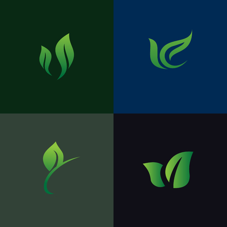 Illustration for leaf nature logo set collection. Environmental and Landscaping gardening logo. - Royalty Free Image