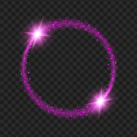 Ilustración de round purple glow light effect stars bursts with sparkles isolated on black background. For illustration template art design, Christmas celebrate. - Imagen libre de derechos