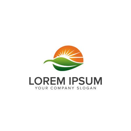 Illustration for Nature Green Landscape Sunrise logo design concept template - Royalty Free Image