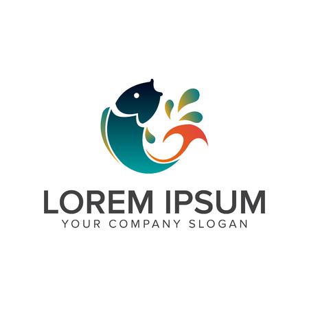 Illustration pour jump fish logo. animal logo design concept template - image libre de droit
