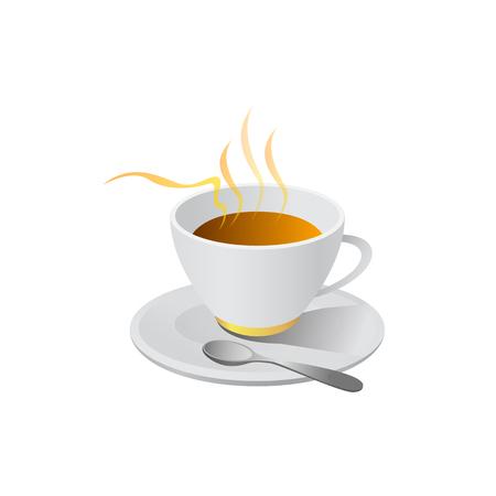 Ilustración de hot coffe illustration vector isolated on white background - Imagen libre de derechos