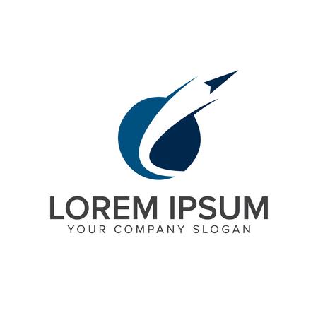 Illustration pour paper plane launch logo. technology logo design concept template - image libre de droit
