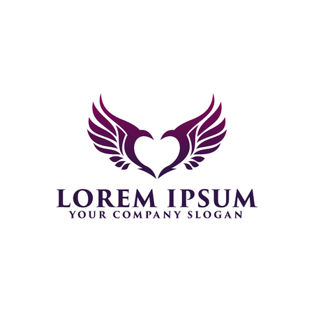 Illustration for love wings logo design concept template - Royalty Free Image