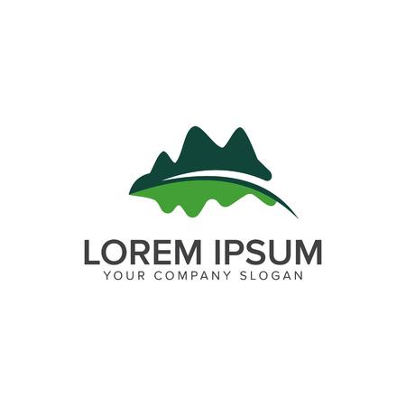 Illustration pour mountain leaf logo. Leaf Garden Floral Landscape logo design concept template - image libre de droit