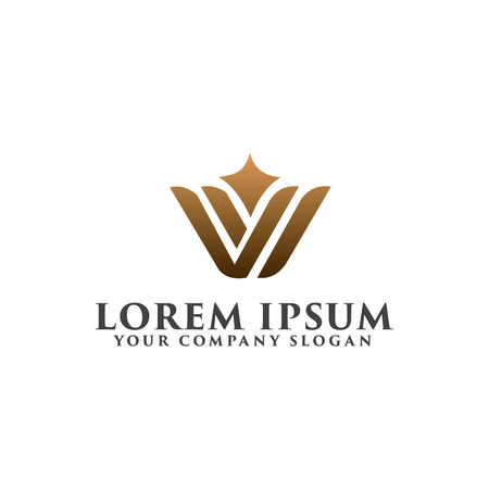 Illustration for luxury letter W logo design concept template - Royalty Free Image