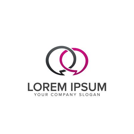 Illustration pour romantic chat logo. communication logo design concept template - image libre de droit