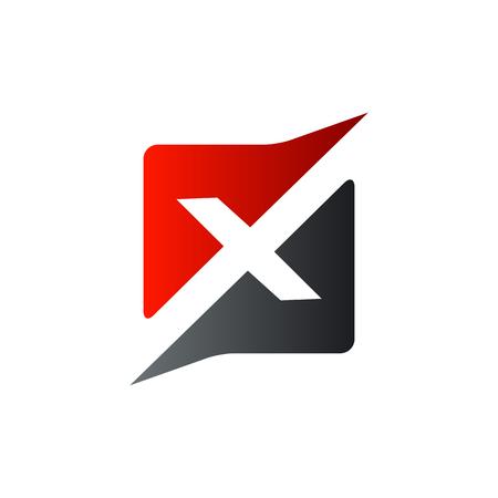 Illustration for letter x square logo design concept template - Royalty Free Image