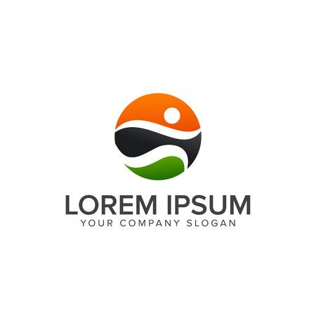 Ilustración de sport people Logos, run activity people logo design concept template - Imagen libre de derechos