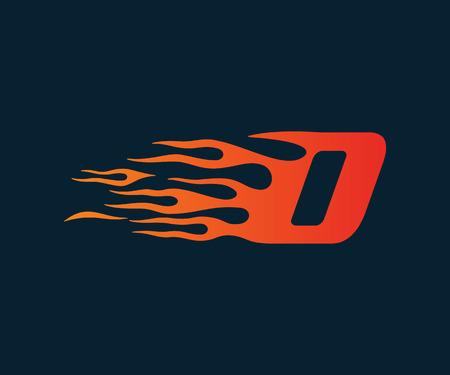 Ilustración de Letter D flame Logo. speed logo design concept template - Imagen libre de derechos