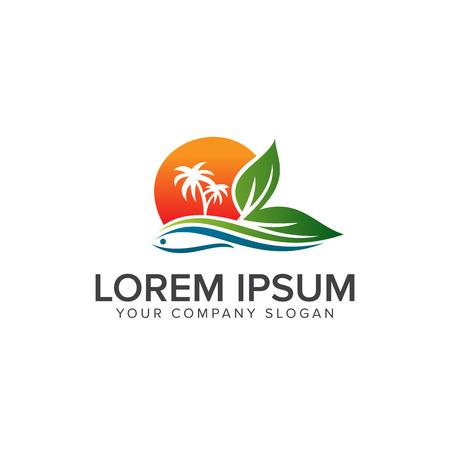 Ilustración de Landscape summer Logo design concept template - Imagen libre de derechos
