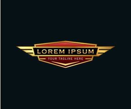 Illustration pour luxury badge wings logo. auto design concept template - image libre de droit
