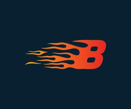 Ilustración de Number 8 fire flame Logo. speed race design concept template - Imagen libre de derechos