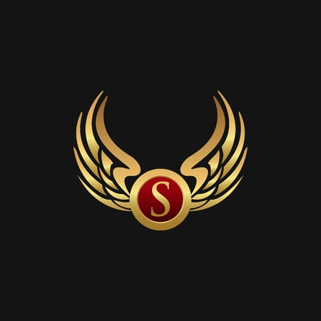 Illustrazione per Luxury Letter s Emblem Wings logo design concept template - Immagini Royalty Free