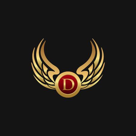 Illustration for Luxury Letter D Emblem Wings logo design concept template - Royalty Free Image