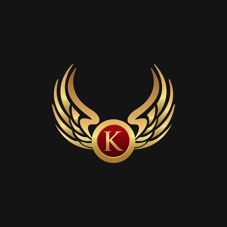 Illustration for Luxury Letter K Emblem Wings logo design concept template - Royalty Free Image