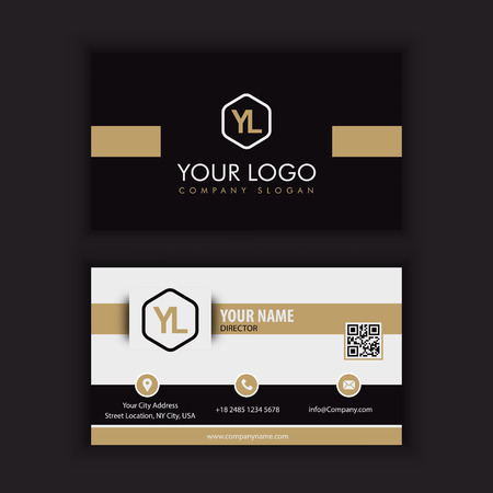 Illustration pour Modern Creative and Clean Business Card Template with gold dark color - image libre de droit