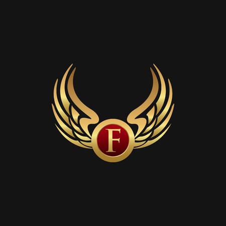 Illustration pour Luxury Letter F Emblem Wings logo design concept template - image libre de droit