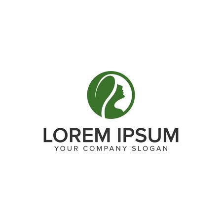Illustration pour herbal hair woman logo design concept template - image libre de droit