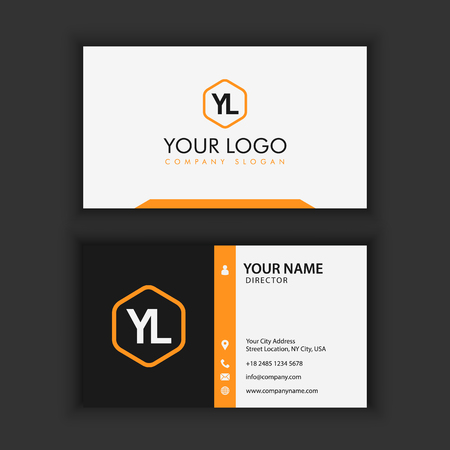 Illustrazione per Modern Creative and Clean Business Card Template with orange black color - Immagini Royalty Free