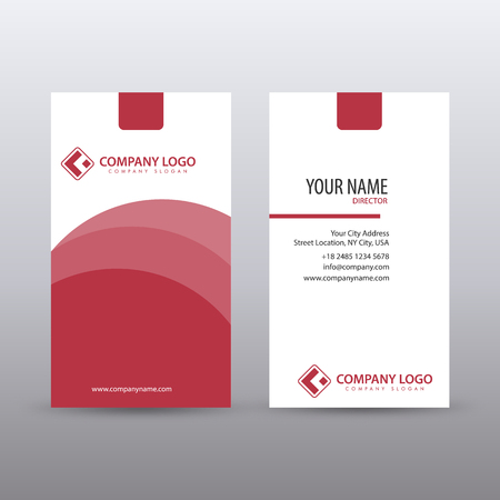 Illustration pour Modern Creative vertical Clean Business Card Template with Red color. fully editable vector - image libre de droit