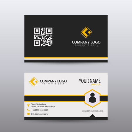 Ilustración de Modern Creative and Clean Business Card Template with orange Black color . Fully editable vector. - Imagen libre de derechos