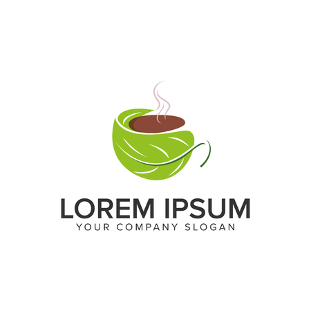 Illustration for Green coffee logo design concept template. - Royalty Free Image