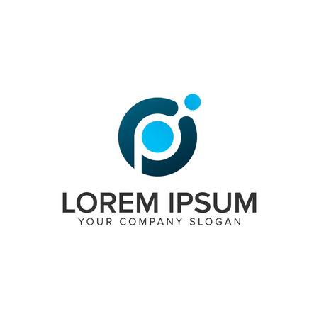 Ilustración de Letter P dot tech logo design concept template. - Imagen libre de derechos