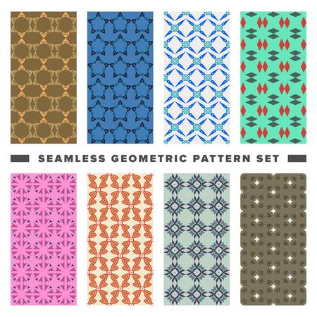 Ilustración de Set of seamless decorative geometric shapes pattern - Imagen libre de derechos
