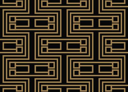Illustration pour Seamless pattern with squares, black gold diagonal braided striped lines. Vector ornamental background. Futuristic vibrant design. - image libre de droit