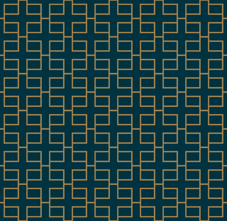 Illustration pour Abstract seamless pattern, Vector seamless pattern. Repeating geometric ornament . luxury gold blue color - image libre de droit