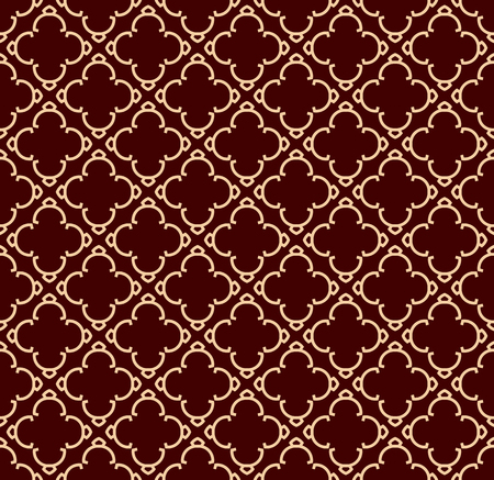 Ilustración de Seamless linear pattern with elegant curved lines and scrolls ornamental wallpaper. - Imagen libre de derechos