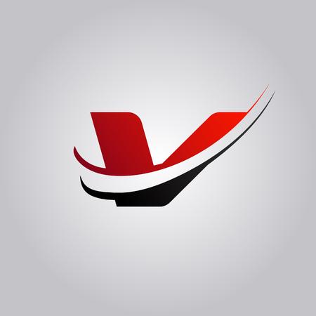 Ilustración de initial V Letter logo with swoosh colored red and black - Imagen libre de derechos