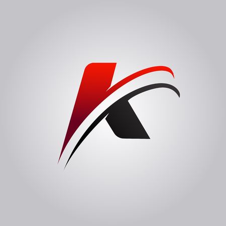 Illustration for initial K Letter logo with swoosh colored red and black - Royalty Free Image