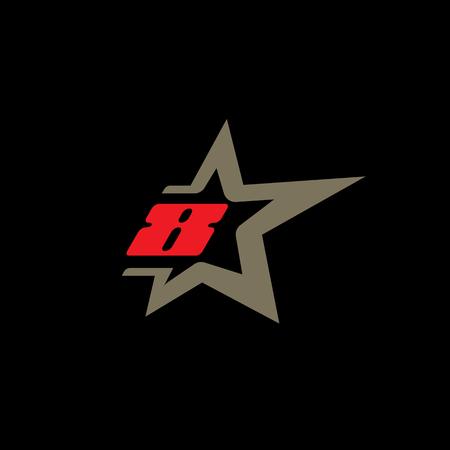 Ilustración de Number 8 logo template with Star design element. - Imagen libre de derechos