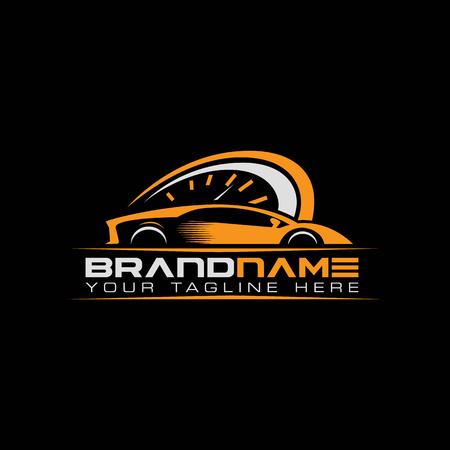 Illustration pour sport car with tachometer logo. Auto performance logo - image libre de droit