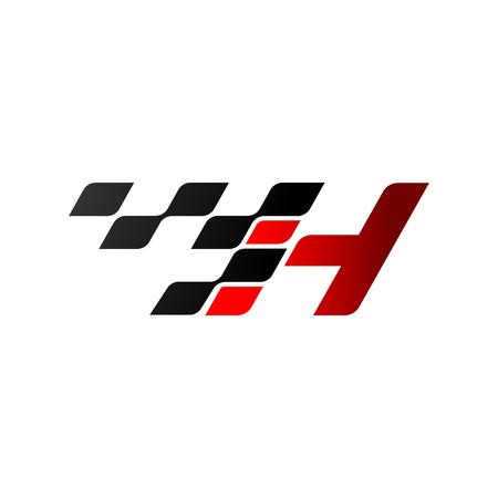 Ilustración de Letter H with racing flag logo - Imagen libre de derechos