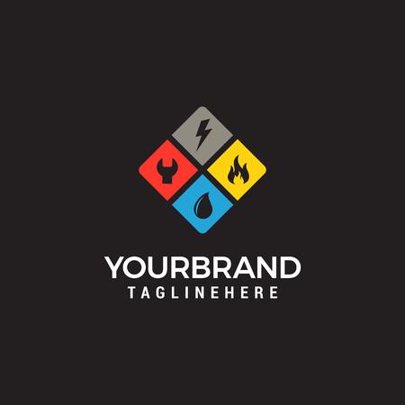 Illustration pour home services logo, plumbing, fire, electricity - image libre de droit