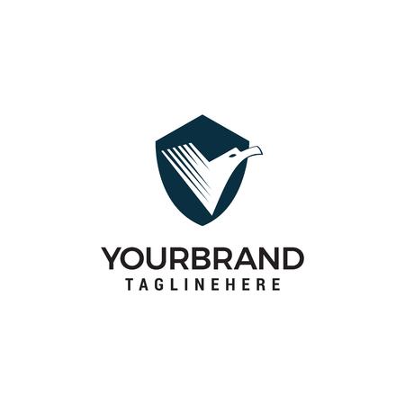 Illustration for Bird Shield Logo Design Template - Royalty Free Image