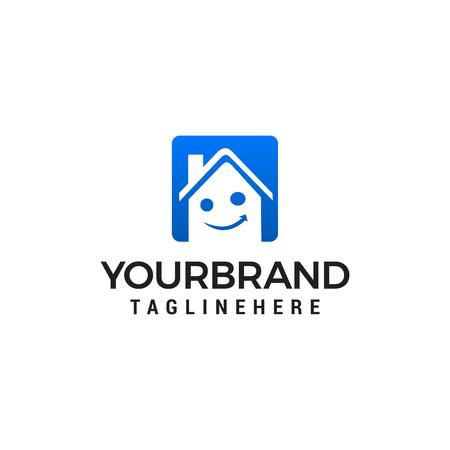 Ilustración de Smile House Real Estate Logo designs Template vector - Imagen libre de derechos