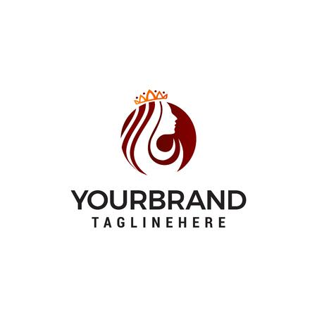 Illustration pour Queen beauty logo, crown woman face logo designs concept template - image libre de droit