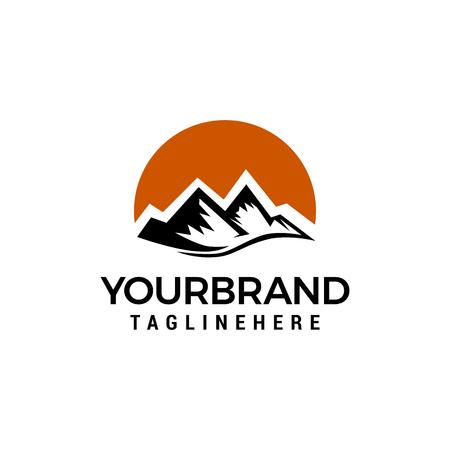 Ilustración de Mountain sun logo design concept template vector - Imagen libre de derechos