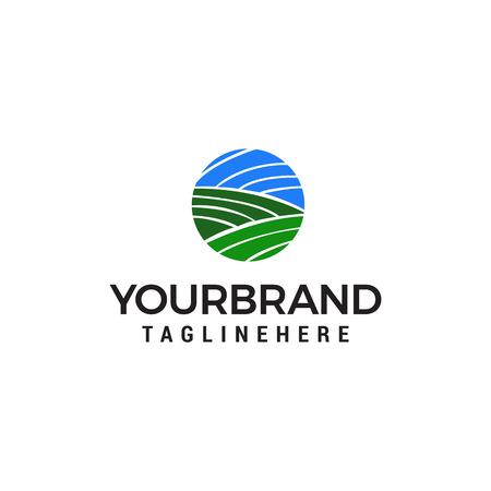 Illustration for green landscape agriculture logo design concept template vector - Royalty Free Image