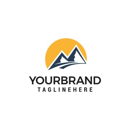 Ilustración de mountains and sun logo design concept template vector - Imagen libre de derechos