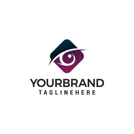 Illustration pour eyes hexagon logo design concept template vector - image libre de droit