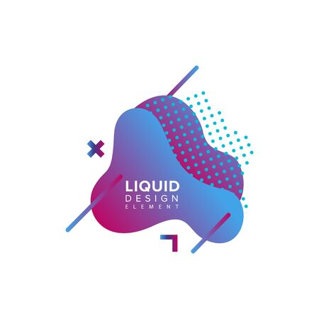 Illustration for Color abstract liquid shape, fluid color overlap gradient background. Vector creative neon color design - Royalty Free Image