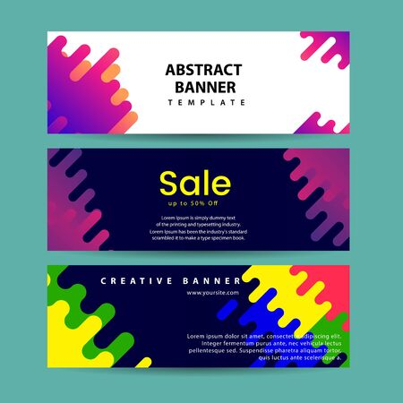 Illustration for Abstract motion banners. Colorful geometric shapes composition. Trendy design. vector geometric banners set. - Royalty Free Image