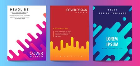 Illustration for Vector printed cover template with abstract colorful shapes. Trendy neon color lines and hexagons in a modern material design style. Geometric lines on a dark background. - Royalty Free Image