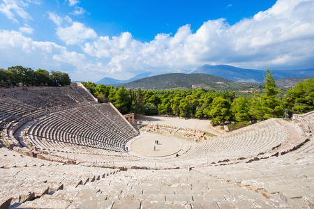 Photo pour The Epidaurus Ancient Theatre is a theatre in the Greek city of Epidaurus, built on the Cynortion Mountain, near Lygourio, and belongs to the Epidaurus Municipality. - image libre de droit