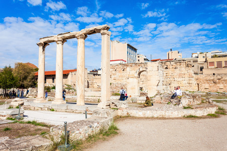 Photo for Hadrian's Library was created by Roman Emperor Hadrian on the north side of the Acropolis of Athens in Greece - Royalty Free Image