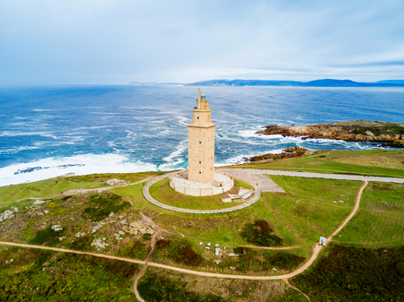 Photo pour Tower of Hercules or Torre de Hercules is an ancient Roman lighthouse in A Coruna in Galicia, Spain - image libre de droit